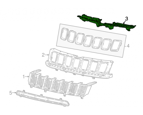 Дефлектор радиатора Jeep Compass 2017-2020